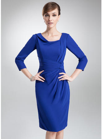 Sheath/Column Chiffon 3/4 Sleeves Cowl Neck Knee-Length Zipper Up Mother of the Bride Dresses