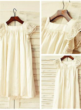 Square Neckline A-Line/Princess Flower Girl Dresses Chiffon Lace Short Sleeves Tea-length