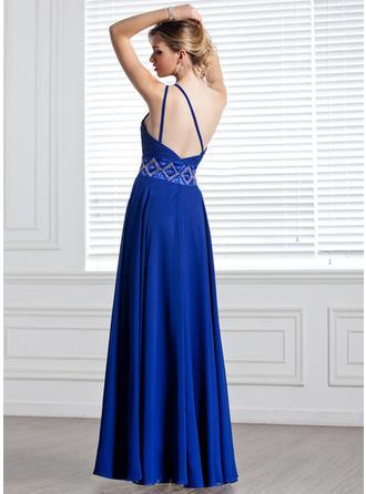 Elegant ワンショルダー Aライン/プリンセスライン2 シフォン イブニングドレス (017004344)
