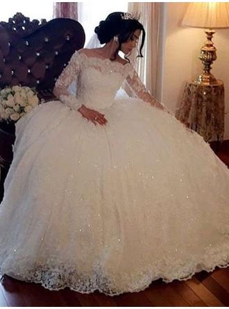 Princess Floor-Length Ball-Gown Wedding Dresses Off-The-Shoulder Lace Long Sleeves