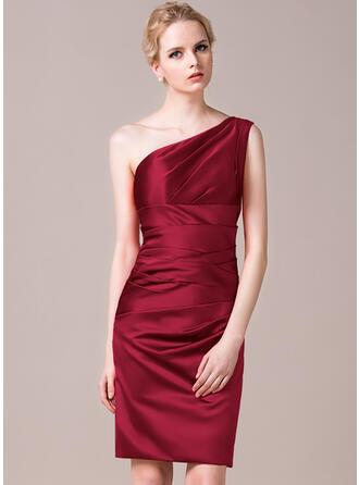 Sheath/Column One-Shoulder Knee-Length Satin Bridesmaid Dress With Ruffle