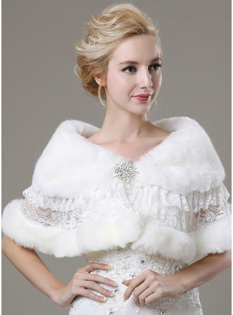 Shawl Fashion Faux Fur With Lace Rhinestones Other Colors Wraps