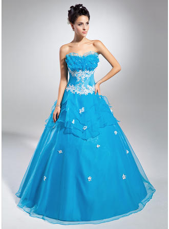 Ball-Gown Scalloped Neck Floor-Length Organza Prom Dress With Beading Appliques Lace Sequins Cascading Ruffles