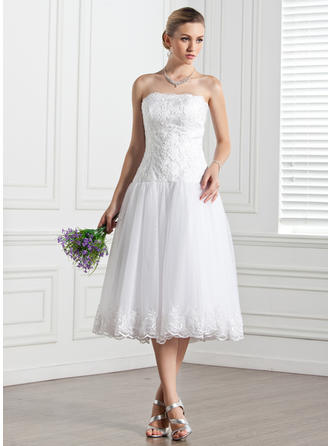Newest Tea-Length A-Line/Princess Wedding Dresses Strapless Tulle Sleeveless