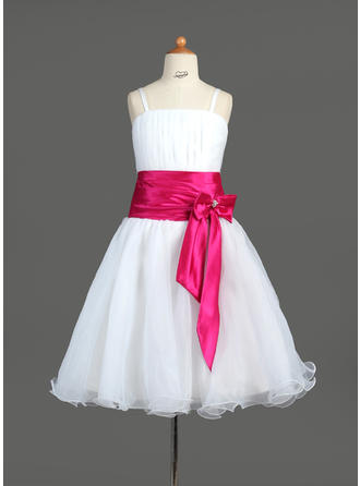 A-Line/Princess Knee-length With Sash/Bow(s)/Rhinestone Organza/Charmeuse Sleeveless Flower Girl Dress