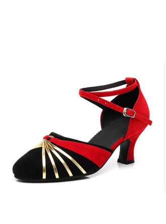 Femmes Salle de bal Sandales Suède avec Ouvertes Chaussures de danse