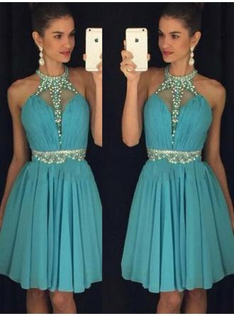 A-Line/Princess Ruffle Beading Sequins Chiffon Cocktail Dresses Halter Sleeveless Knee-Length
