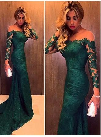 Flattering Lace Evening Dresses Sweep Train Trumpet/Mermaid Long Sleeves Off-the-Shoulder