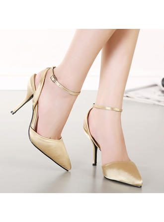 Women's Closed Toe Pumps Sandals Slingbacks Stiletto Heel Satin With Buckle Wedding Shoes