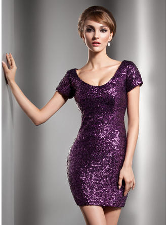 Short Sleeves Scoop Neck Flattering Sequined Sheath/Column Cocktail Dresses