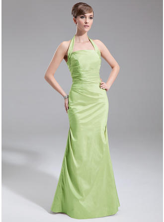Taffeta Sleeveless A-Line/Princess Bridesmaid Dresses Halter Ruffle Floor-Length