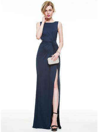 Sheath/Column Scoop Neck Floor-Length Jersey Evening Dress With Ruffle Split Front (017077818)