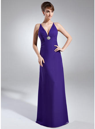Sheath/Column V-neck Floor-Length Chiffon Prom Dress With Ruffle Crystal Brooch