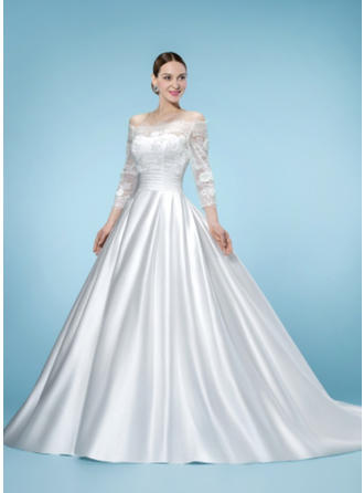 Ball-Gown Off-The-Shoulder Court Train Wedding Dress With Lace