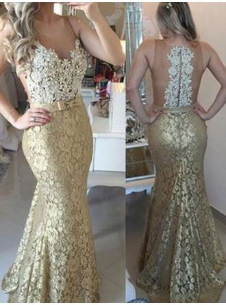 Trumpet/Mermaid Scoop Neck Sweep Train Prom Dresses With Sash Beading Appliques Lace