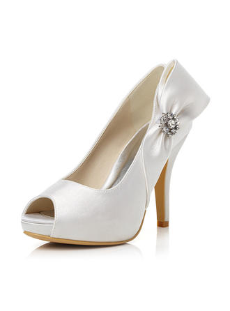 Women's Peep Toe Pumps Stiletto Heel Satin With Bowknot Rhinestone Wedding Shoes