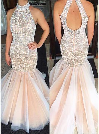 Trumpet/Mermaid Tulle Prom Dresses Magnificent Sweep Train Scoop Neck Sleeveless