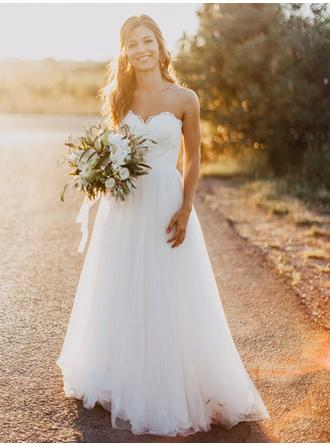 Gorgeous Floor-Length Wedding Dresses Sweetheart Tulle Sleeveless