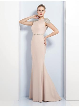 Trumpet/Mermaid Scoop Neck Floor-Length Evening Dresses With Sash Beading