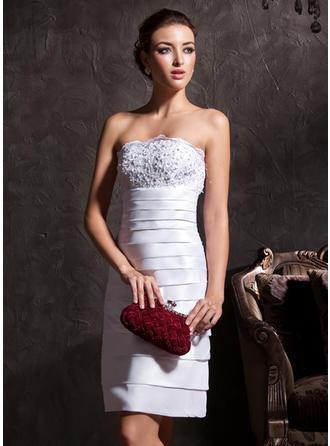 Etui-Linie Trägerlos Knielang Taft Brautkleid mit Spitze Perlen verziert