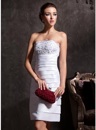Linjeform Stroppløs Knelengde Taft Brudekjole med Blonder Perlebesydd