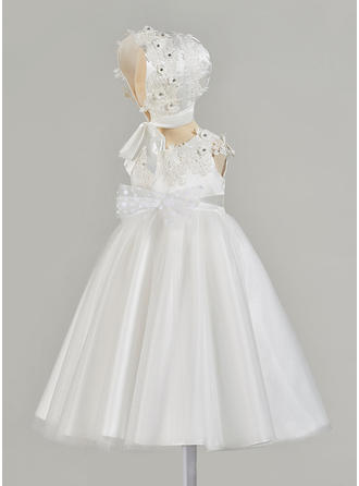 Satin V-neck Beading Bow(s) Baby Girl's Christening Gowns With Sleeveless
