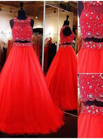 Tulle Sleeveless A-Line/Princess Prom Dresses Scoop Neck Beading Floor-Length Detachable