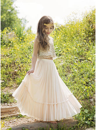 A-Line/Princess Strapless Floor-length Chiffon/Lace/Sequined Sleeveless Flower Girl Dress (010148149)