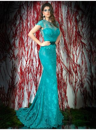 Trumpet/Mermaid Scoop Neck Sweep Train Evening Dresses With Sash Bow(s)