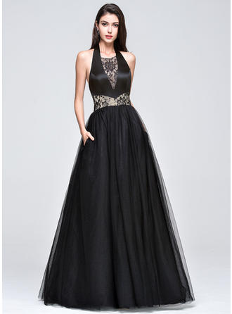 Tulle Sleeveless Ball-Gown Prom Dresses Halter Lace Floor-Length
