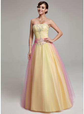 Ball-Gown Strapless Floor-Length Tulle Prom Dress With Ruffle Beading Appliques Lace