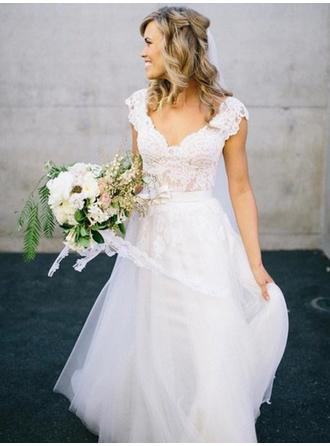 A-Line/Princess V-neck Sweep Train Wedding Dress With Sash