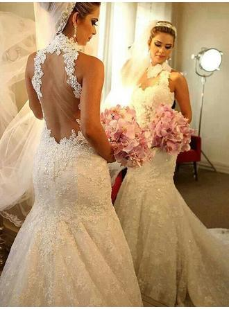 Trumpet/Mermaid High Neck Chapel Train Tulle Wedding Dresses