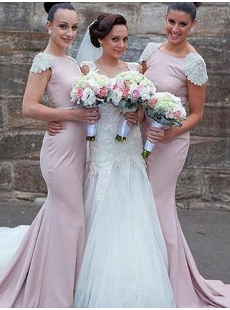 Trumpet/Mermaid Stretch Crepe Bridesmaid Dresses Beading Scoop Neck Short Sleeves Sweep Train