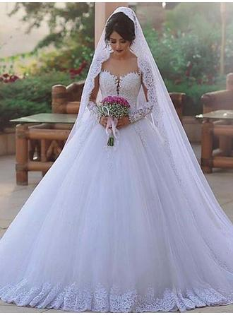 Princess Tulle Wedding Dresses Ball-Gown Sweep Train Sweetheart Long Sleeves