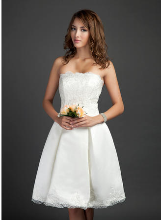 Satin A-Line/Princess Knee-Length Strapless Wedding Dresses Sleeveless