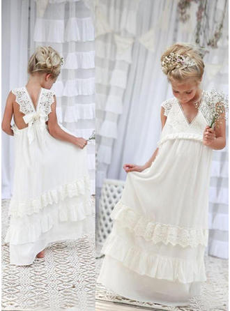 A-Line/Princess Floor-length With Bow(s) Chiffon/Lace Sleeveless Flower Girl Dress (010210965)