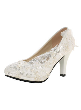 Women's Pumps Cone Heel Patent Leather With Imitation Pearl Rhinestone Stitching Lace Flower Wedding Shoes