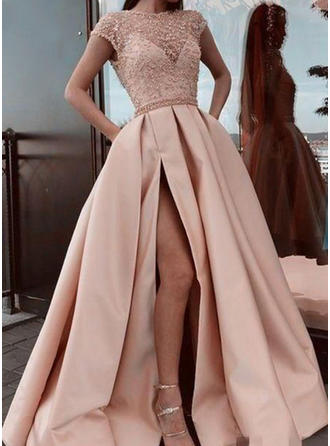Beautiful Satin Prom Dresses A-Line/Princess Sweep Train Scoop Neck Short Sleeves