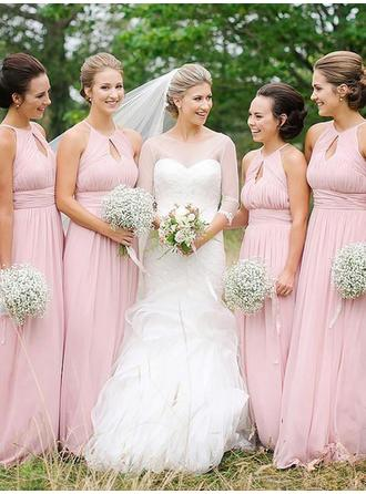A-Line/Princess Sleeveless Scoop Floor-Length Chiffon Bridesmaid Dresses