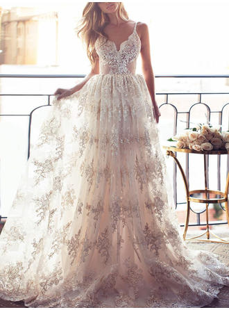 Glamorous Lace Wedding Dresses A-Line/Princess Sweep Train V-neck Sleeveless (002144923)