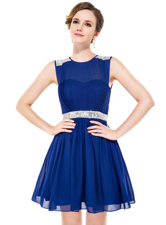 A-Line/Princess Short/Mini Chiffon Scoop Neck Homecoming Dresses