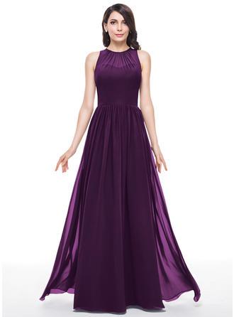 A-Line/Princess Chiffon Bridesmaid Dresses Ruffle Scoop Neck Sleeveless Floor-Length
