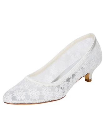 Women's Pumps Kitten Heel Lace With Hollow-out Wedding Shoes