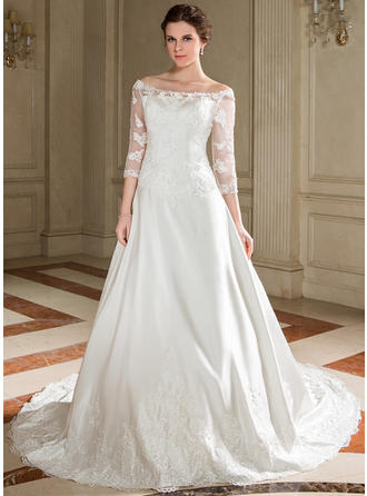 Luxurious Chapel Train A-Line/Princess Wedding Dresses Scoop Satin (002000095)