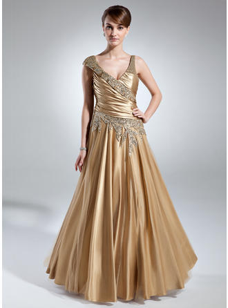 Charmeuse Sleeveless Mother of the Bride Dresses V-neck A-Line/Princess Ruffle Beading Floor-Length
