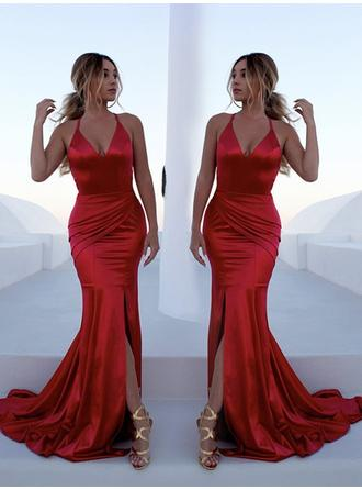 Trumpet/Mermaid V-neck Charmeuse Sleeveless Sweep Train Ruffle Split Front Evening Dresses