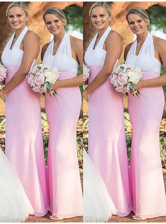 Sheath/Column Chiffon Bridesmaid Dresses Halter Sleeveless Floor-Length