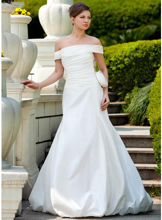 Gorgeous Court Train Trumpet/Mermaid Wedding Dresses Off-The-Shoulder Taffeta Sleeveless