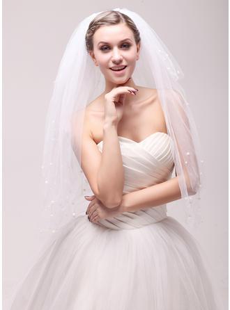 Vierschichten Schnittkante Walzer Braut Schleier mit Faux-Perlen